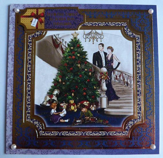 1920's Inspired Christmas Card Family Christmas Card #artdecochristmas #artdeco #handmadechristmascards #ChristmasTree #1920s #artdecostyle