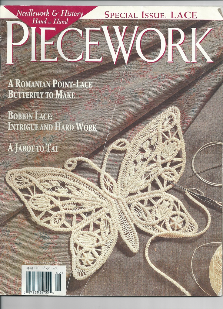 PieceWork magazine did a wonderful article on Romanian Point Lace crochet in their January/February 2001 edition. Includes the pattern and detailed instructions for the butterfly on the cover, a wonderful interview, and several photos of other pieces.