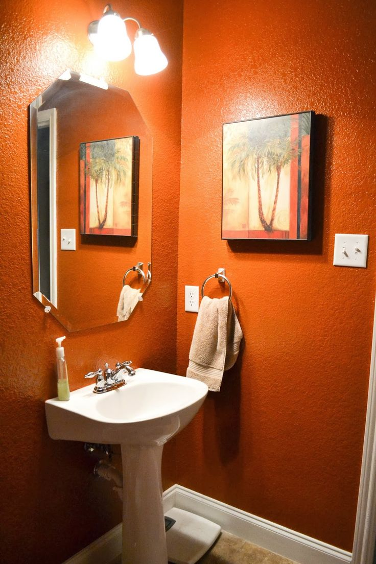 Custom Orange Bathroom Interior Decorating Design Of Best