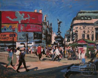 Painting made during my visit to London in 2015 in perfect Summer weather conditions. Piccadilly Circus... Acrylic on panel 50x40cm