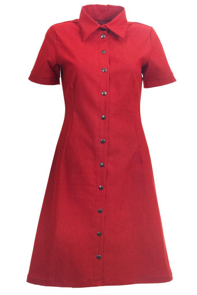 New spring favourite, Winnie retro dress in red denim.