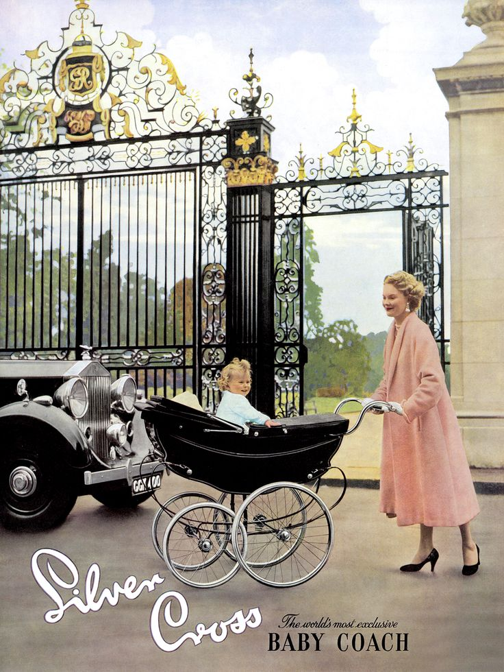 What a beautifully majestic setting for this 1959 Silver Cross advertisement – very fitting indeed for the world's most exclusive baby coach. The elegantly-dressed lady is pushing the luxurious Silverdawne, which was newly launched at the time.