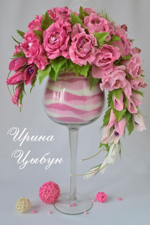 Gallery.ru / Розовые сполохи - букеты на бокале - ytenok