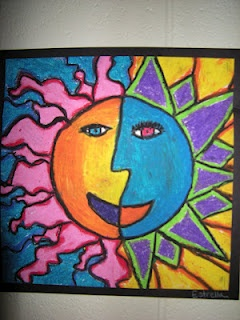 4th Grade-Warm/Cool Suns with Oil Pastels