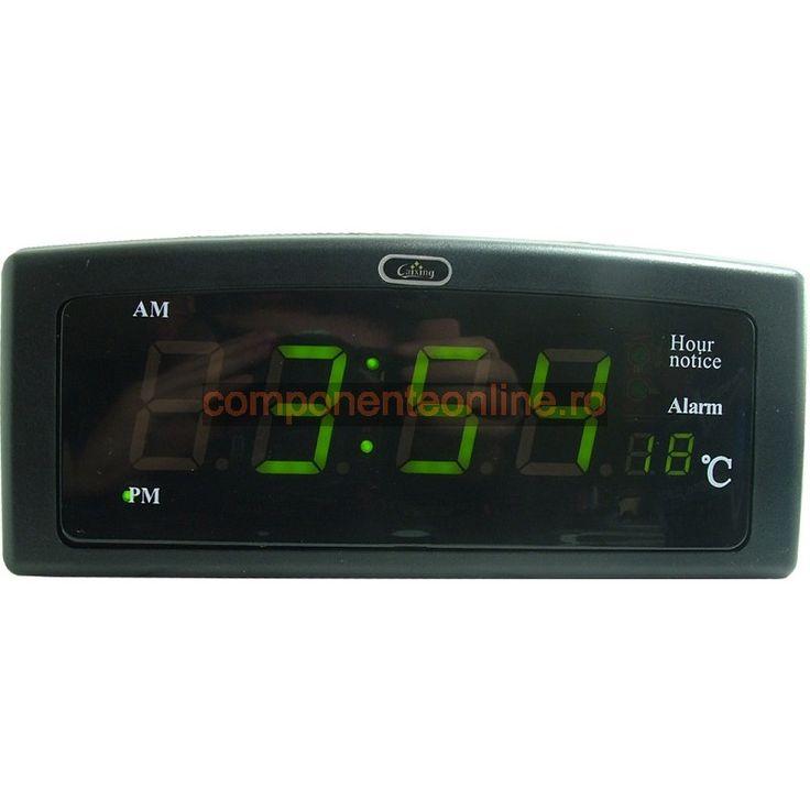 Ceas electronic cu alarma, termometru, afisaj digital - 110967