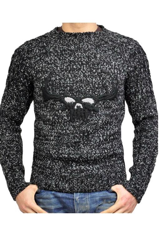 Maglia Messagerie nera con disegno frontale