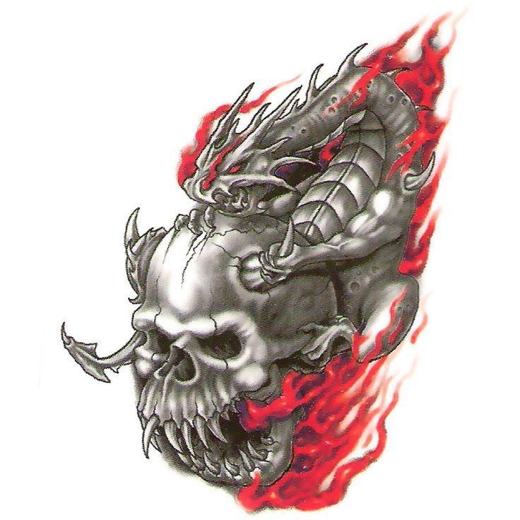 Bullseye Urban Realistische tijdelijke tatoeage, Skull Dragon Riding Devil's, USA Made picclick.com