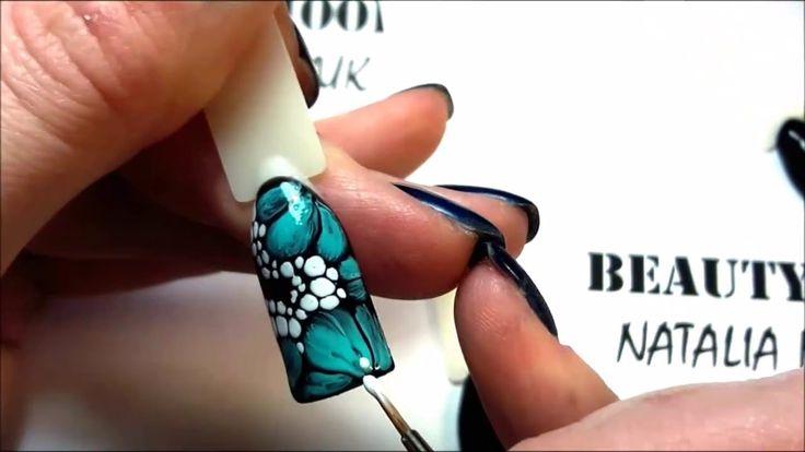 Экспресс дизайны. Цветы по мокрому гель лаку. Техника WATERWAY.