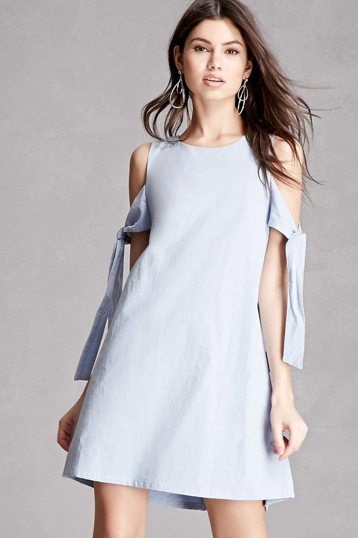 A woven mini dress by Lush™ featuring a round neck with a back button closure, an open-shoulder design, self-tie short sleeves, a keyhole back detail, and a flared hem.