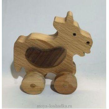 "Каталка ""Корова"" из дерева"