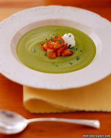 Pea Bisque with Shrimp and Tarragon    Would be amazing with fresh peas from the garden.