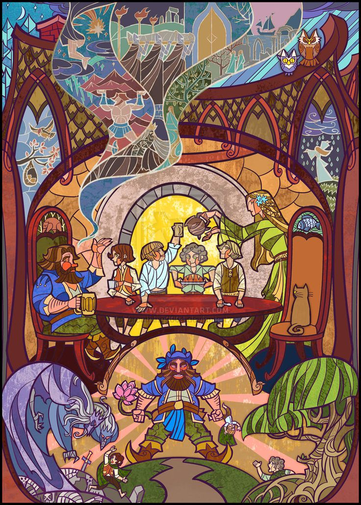"""Jian Guo: Illuminated scenes from Lord of the Rings """" Talking with Tom Bombadil"""""""