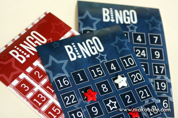 4th of July - free printable bingo cards for your picnic! Use your old buttons and play while waiting for fireworks!