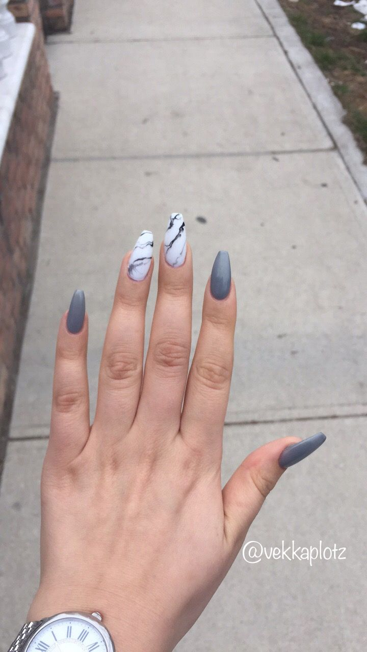 Marble And Cool Grey Nails Marble Coffin Nails