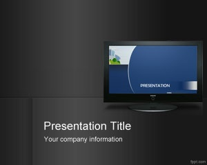 Indoor Digital Signage PowerPoint template is a free gray template with a TV LCD screen on the slide design that you can download today for presentations on digital signage and TV advertising