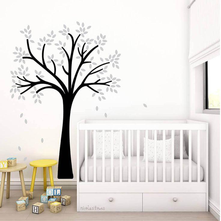 Vinilo decorativo Little Tree Blanco y Gris - Vinilo decorativo infantil - Vinilo infantil  de árbol pequeño - Arbol decoración mural de NicolasitoEs en Etsy