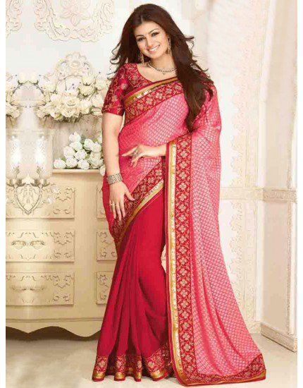 Red Georgette Saree with Embroidery Work
