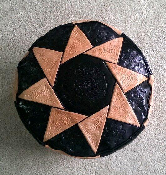 Leather Pouf Ottoman Moroccan Footstool Handmade Furniture Medium Black Tan   #Handmade #Moroccan