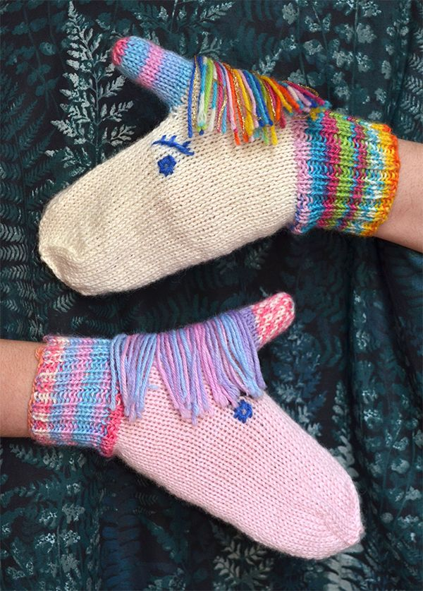 Knitting Pattern for Unicorn Mittens -Knit in your…