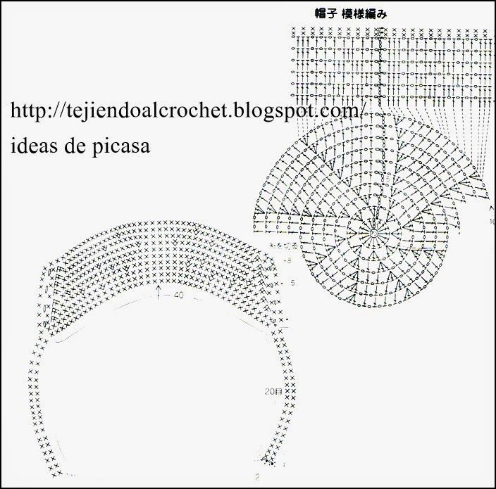 DIAGRAMA DE GORRITOS TEJIDOS A CROCHET PATRONES DE BOINA TEJIDA A ...