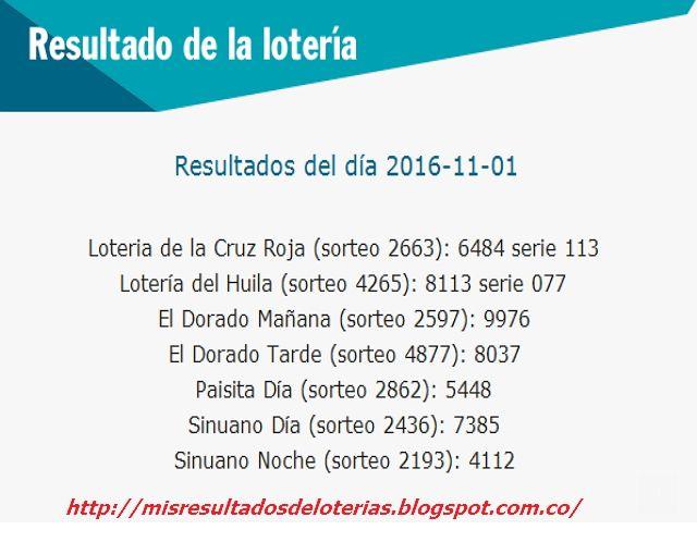 Resultado de la Lotería: Resultados-De las-loterias-de-colombia-01-de-Novie...