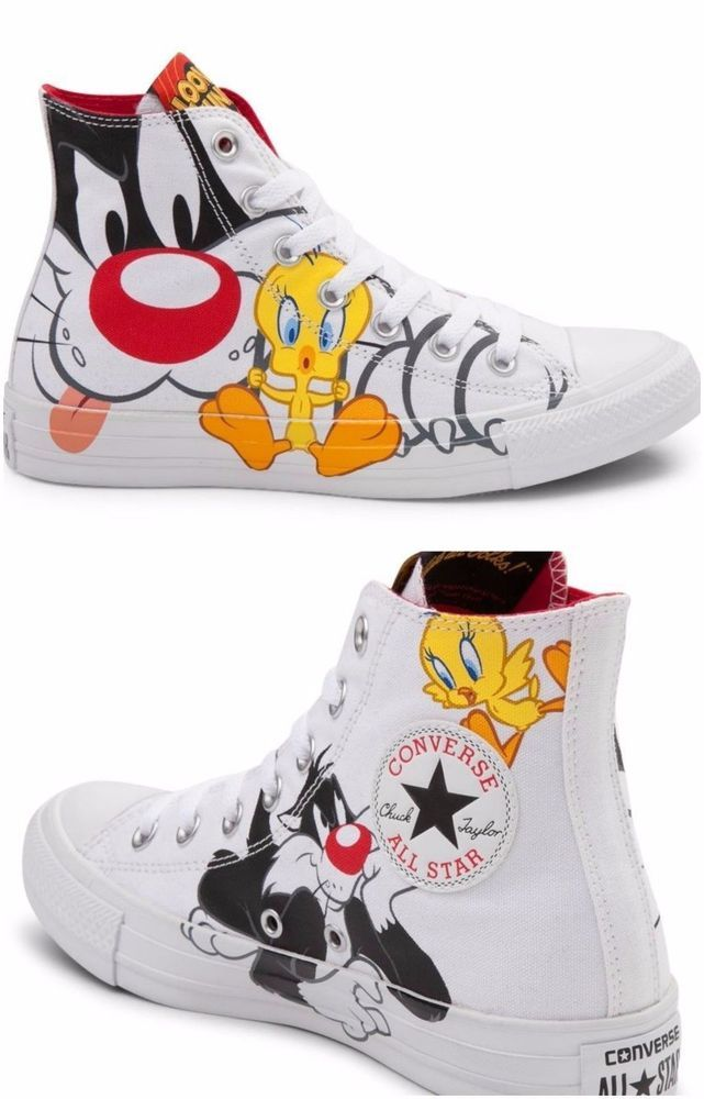 9c69c43e67d0 Converse Hi Looney Tunes Sylvester   Tweety Sneaker Youth Sz 12 13 1 2 3