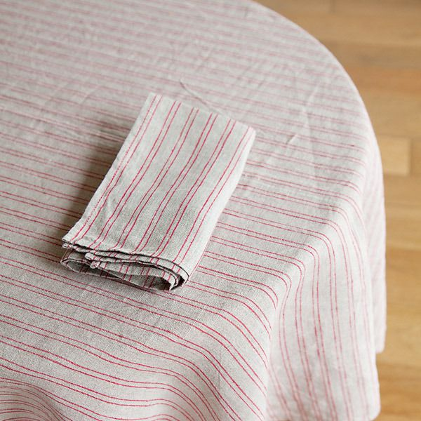 shop fog linen — Tablecloth: Natural Red Stripe