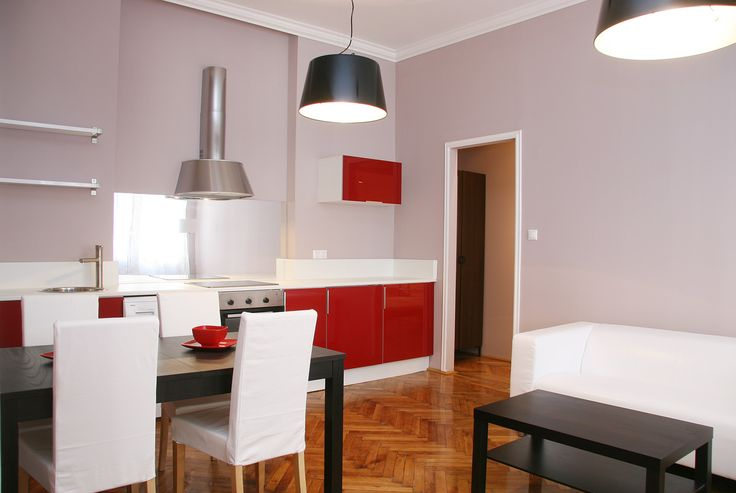 Red kitchen / Budapest downtown apartment renovated and furnished by www.towerassistance.com