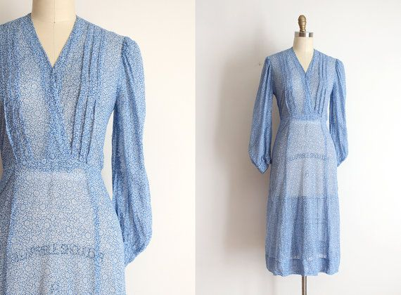 vintage 1930s dress // 30s 40s sheer blue day by TrunkofDresses