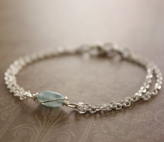 Dainty silver bracelet with aquamarine stone and folded chain and a lobster clasp - Simple Stone Bracelet on Etsy, $19.50