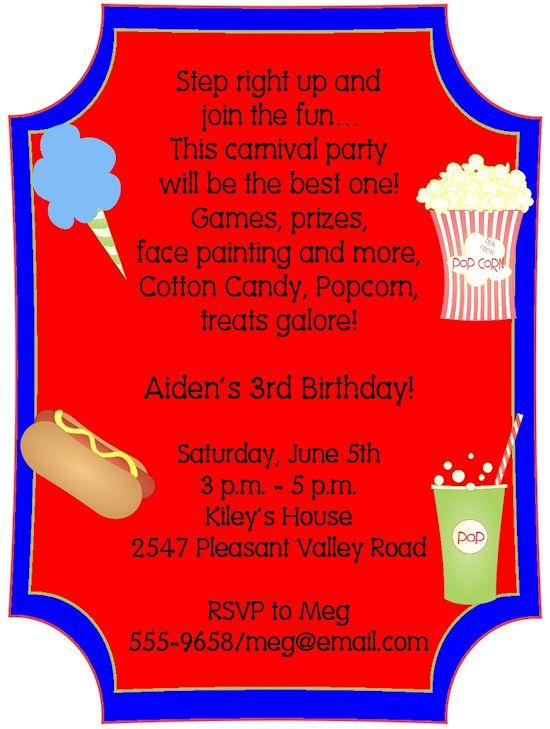Carnival Wording For Invite Birthday Parties Carnival Birthday