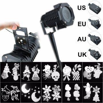 Sólo €32.63, compra mejor 10 patrón LED proyector luz de la etapa halloween fiesta de Navidad iluminación láser us us eu au plug venta en línea en pricio del wholesale. Almacén de EE.UU./UE.