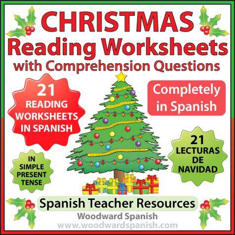21 original Reading Comprehension worksheets about Christmas in Spanish. --- 21 páginas con textos acerca de la Navidad y preguntas de comprensión