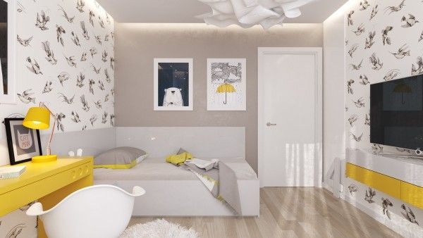 """WALL PAPER FOR CURTAINS <img class=""""wp-image-772 size-full"""" src=""""http://www.decoratingideasx.com/wp-content/uploads/yellow-and-gray-kids-room-41.jpg"""" alt=""""Bulgarian designer Mitaka ..."""