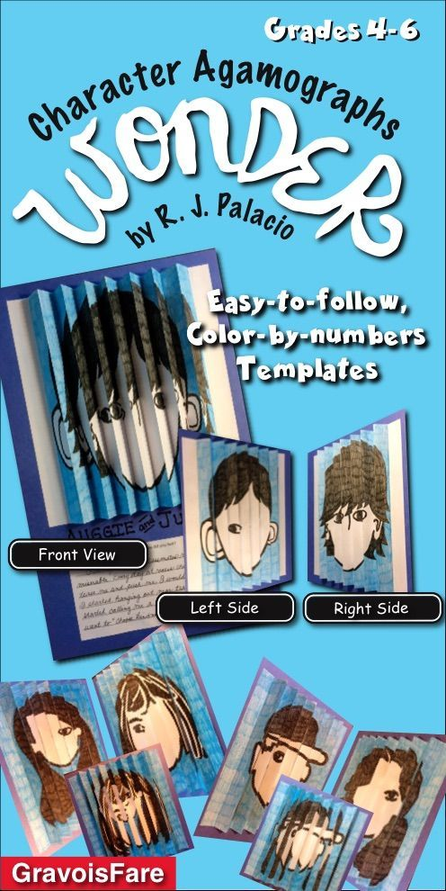 Students will love learning about the characters from the novel WONDER by R. J. Palacio, as they create these easy-to-make agamographs using the ready-to-go, color-by-number templates. Three sets of templates focus on pairs of characters—the protagonist, AUGGIE, and the antagonist, JULIAN; Auggie's best friends, JACK and SUMMER; Auggie's sister, VIA, and her friend, MIRANDA.