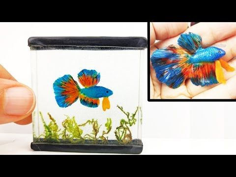 how to: betta fish in mini tank from resin and polymer clay
