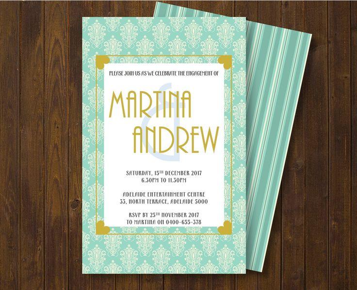 ENGAGEMENT INVITATION/ Engagement Party Invitation/ Vintage engagement party invitation/ Turquoise  Engagement Invitation by GROWaPEARcreations on Etsy