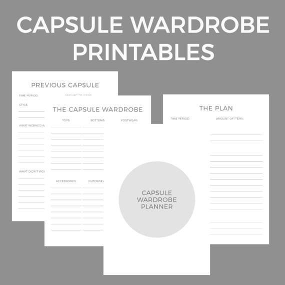 Capsule Wardrobe Planner Printables - Plan your capsule wardrobe. Minimalism, fashion, clothes, declutter