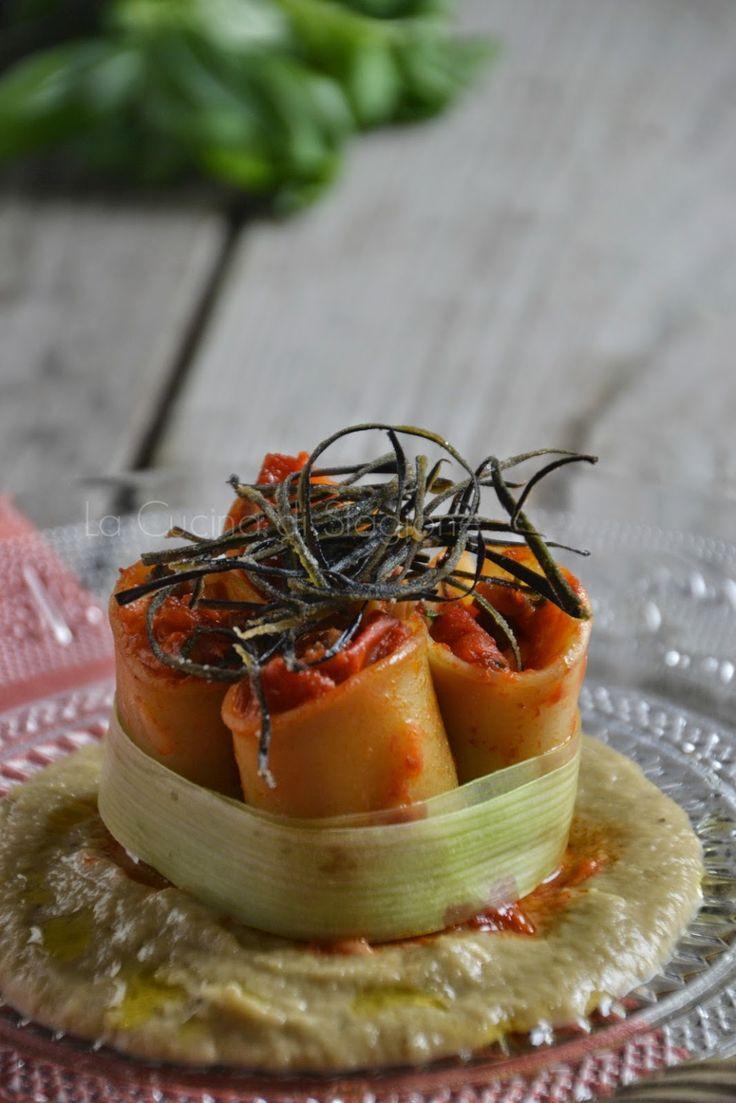 Paccheri di Gragnano con caponata di melanzane e bufala