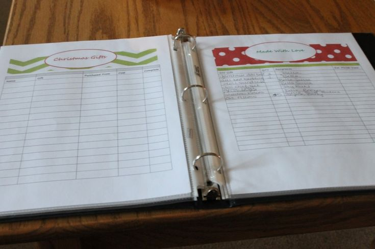 Christmas Gift list organizer.  Such a great  idea! I seem to always forget what all I have bought.