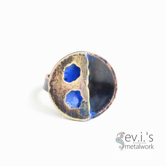 Round Holes Black Blue Half Sphere Ring Copper by evismetalwork, €24.00