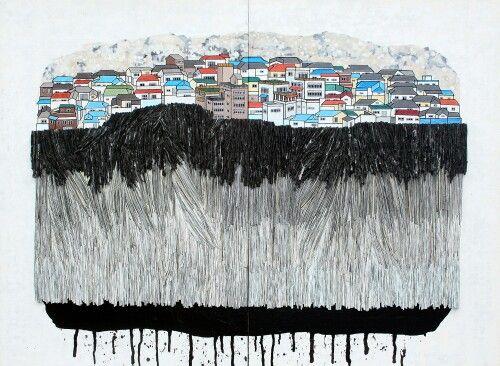 La Aeng (라앵) Urban Memory - 수암골 101.4 × 75cm, 2014 mixed media, Korean ink, Acrylic, Hanji paper on panel