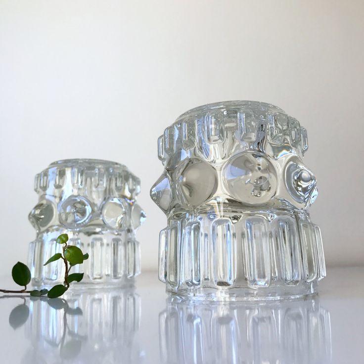 Pair of mid century design pressed glass candle holder / Small vases / Cigarette holder. Hermaova hut glassworks, Pavel Panek by ReOSL on Etsy