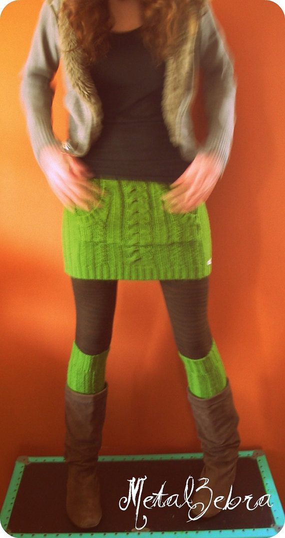 Refashioned sweater. The body becomes the skirt and the sleeves become leg warmers.