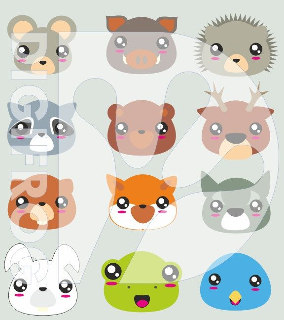 Printable woodland animals cliparts set, cute, kawaii, paper clip, bookmark, planner clipart, digital image, fox, hedgehog, wolf, forest by DigiFrog on Etsy