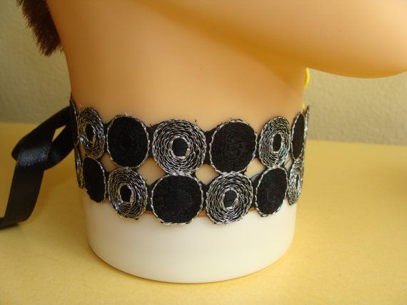 Black and Silver Color Choker, Silver Color Embroidery Thread, Modern Choker woth Satin Ribbon, Women Gift, Girls Gift, Party Choker