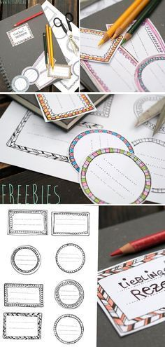 Freebies - Etiketten zum Ausdrucken für Schulhefte *** Free Printables for Back to School