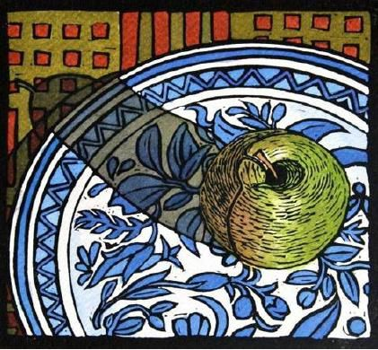 Apple on a plate, 2011, Linocut - The South African Print GalleryThe South African Print Gallery