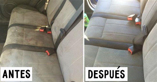 Los asientos del automóvil Para evitarte pagar para que limpien químicamente los asientos de tu automóvil puedes limpiarlos tú mismo. Haz una solución de jabón, algo de bicarbonato de sodio y vinagre. Luego, remoja un cepillo de cerdas duras con la mezcla y quita la mugre.