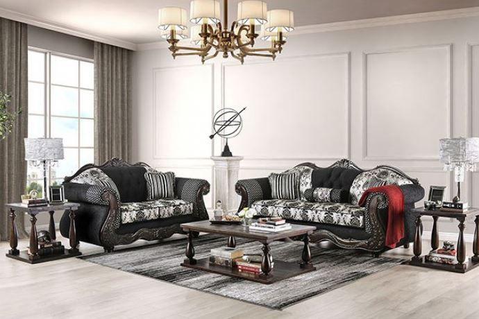 Ronja Formal Sofa Set In Black In 2020 Sofa Set Traditional Living Room Furniture Living Room Sets Furniture